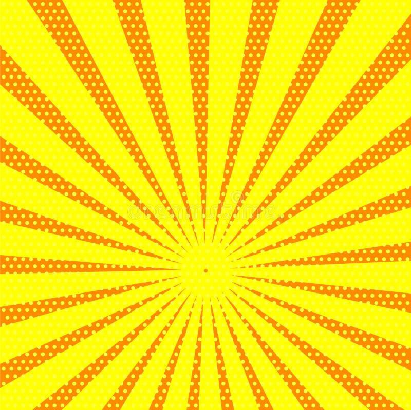 Retro grappige gele achtergrond met strepen en puntenpop-art retr royalty-vrije illustratie