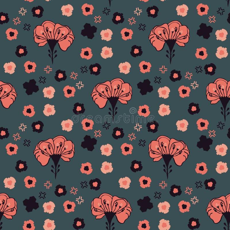 Retro- Grasland-Art-Blumenvektor-Muster-Hand gezeichnet, nahtlose Blüte vektor abbildung