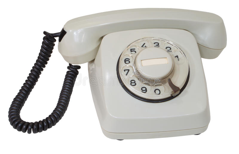 Retro gray dial telephone. Isolated on white background royalty free stock photos