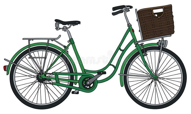 Retro green bicycle royalty free illustration