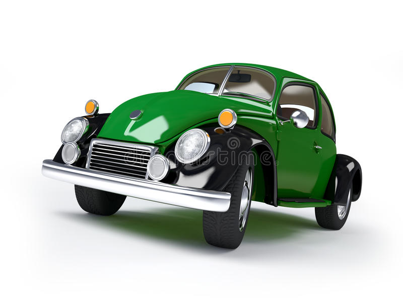 Retro green car. Green retro car from forties on a white background vector illustration