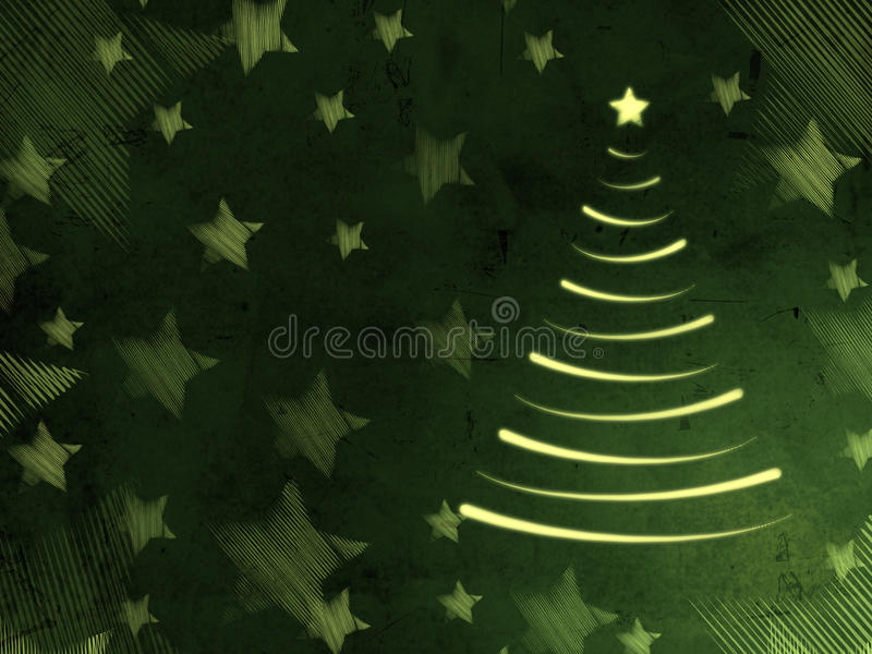 Retro Green Card mit Weihnachtsbaum und Sternen vektor abbildung