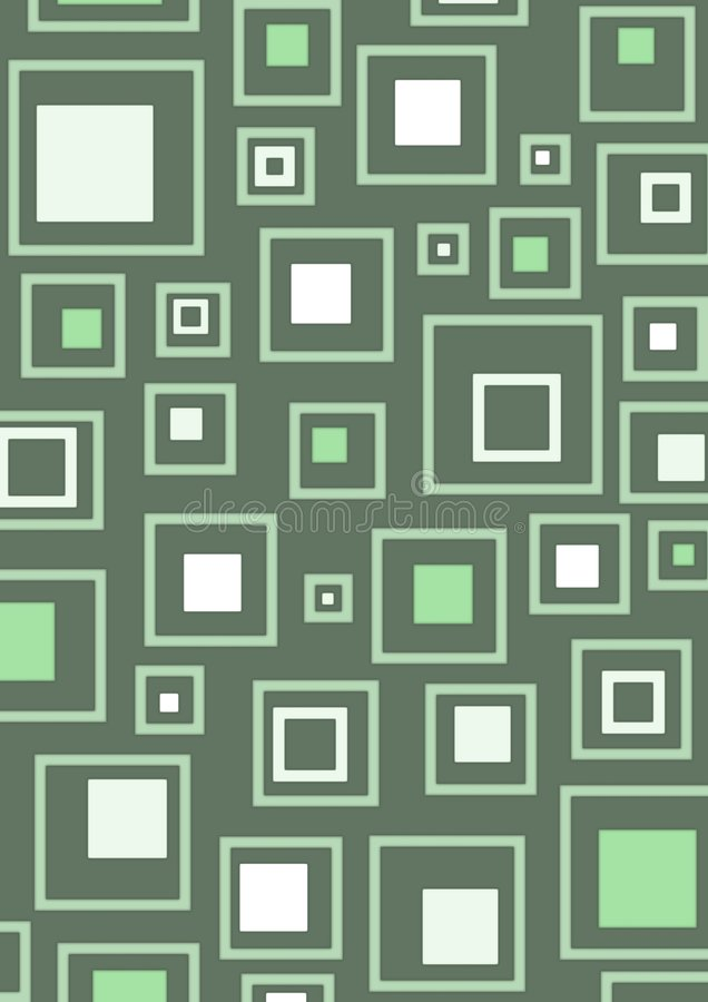 Retro green squares background stock images