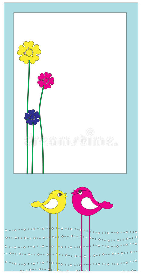 Retro greeting card. Vector Illustration of retro Flowery design greeting card with two retro-style birds royalty free illustration
