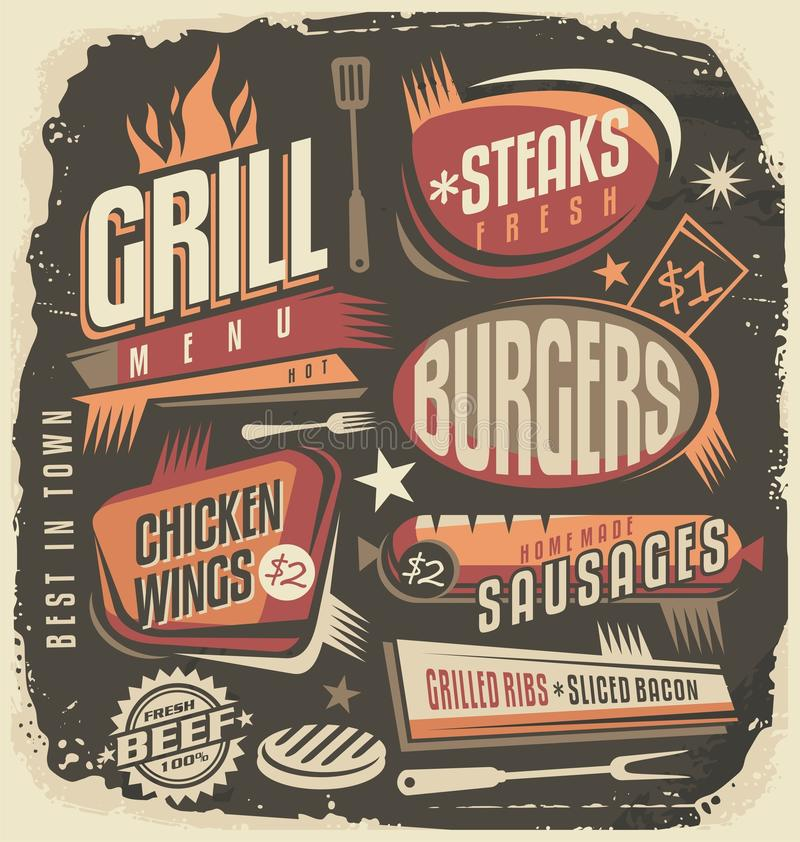 Retro Grill Menu Design Template Vintage Restaurant Poster Unique Concept Fun Ad Layout For Barbecue Hot And Fresh Food Old Fashioned Background On