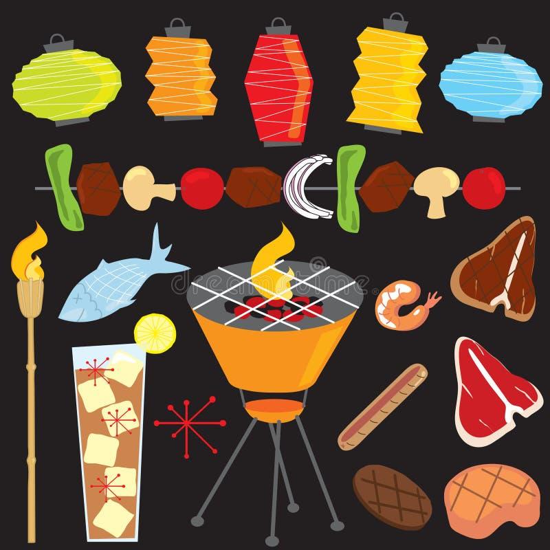 retro grillfestaftondeltagare stock illustrationer