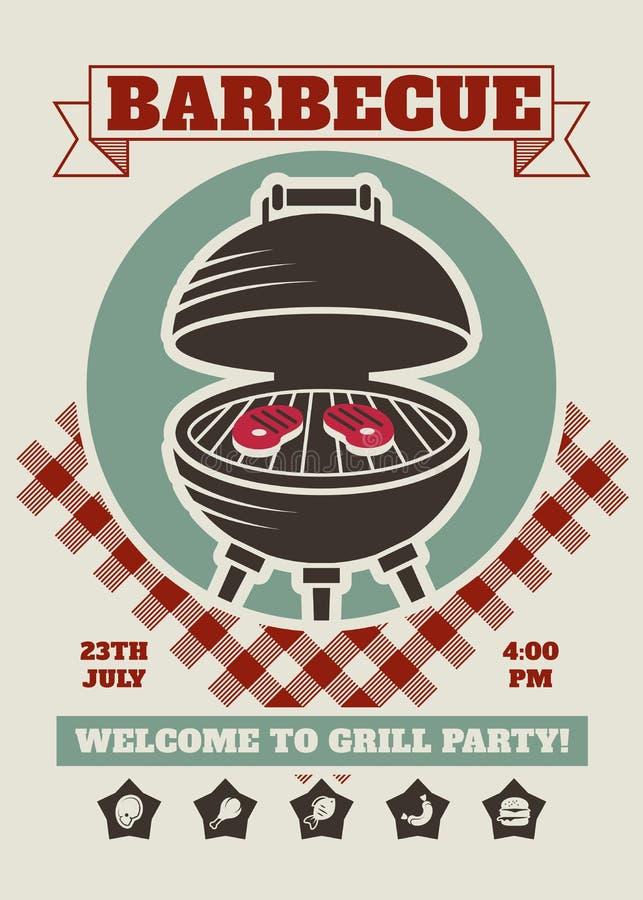 Retro- Grillparteirestaurant-Einladungsschablone Bbq-Cookoutvektorplakat mit klassischem Holzkohlengrill vektor abbildung
