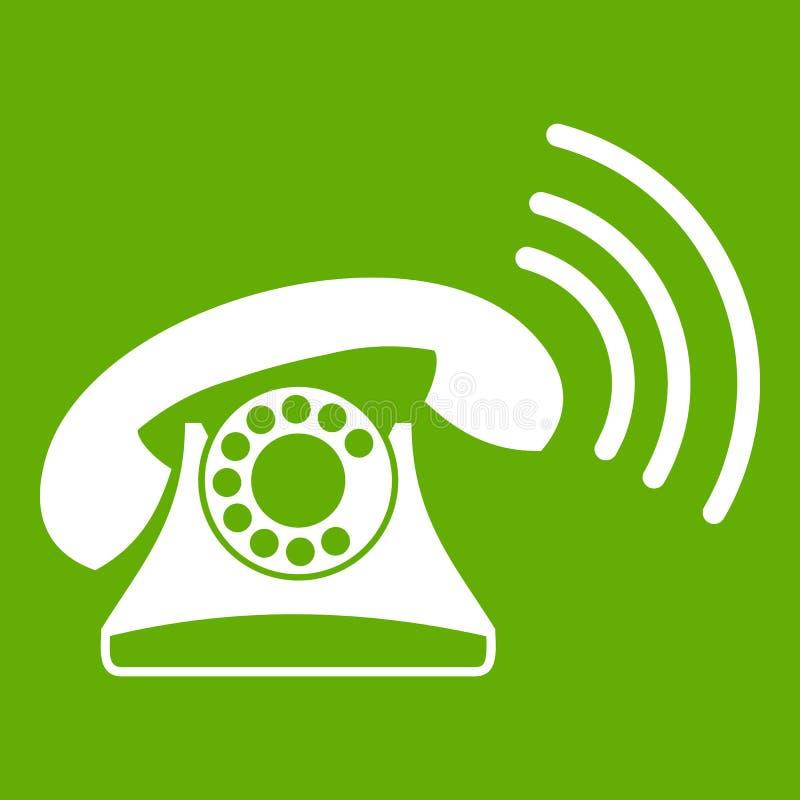 Retro groen telefoonpictogram stock illustratie