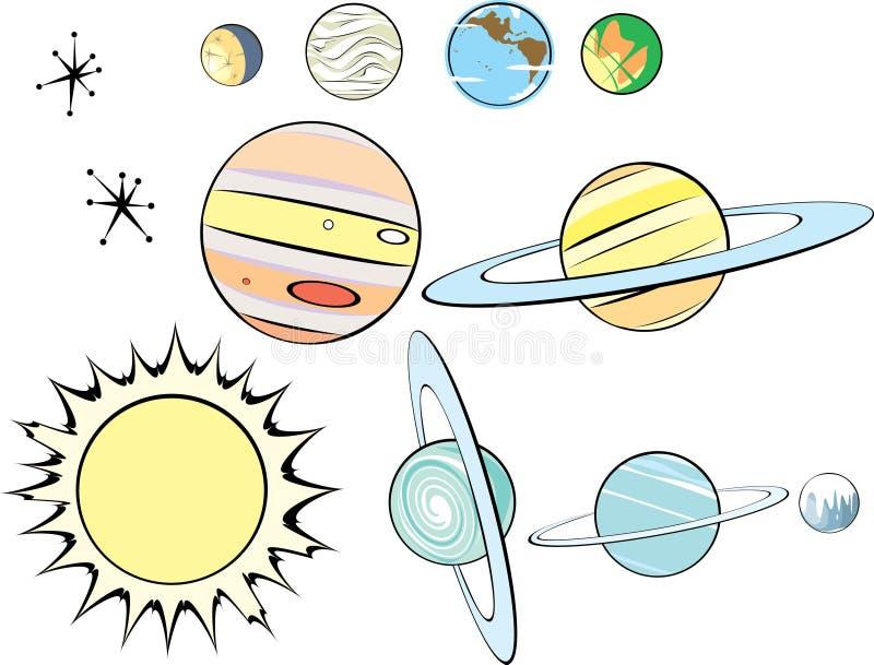 Retro Groep van het Zonnestelsel royalty-vrije illustratie