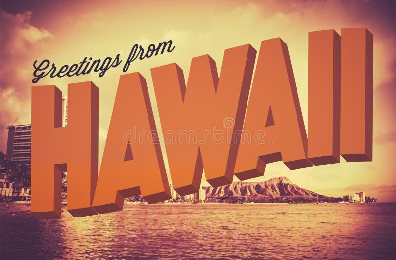 Retro Groeten van de Prentbriefkaar van Hawaï stock illustratie
