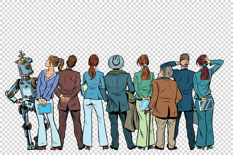 Retro group of businessmen and businesswomen with the robot on i. Solated background. Pop art vector illustration stock illustration