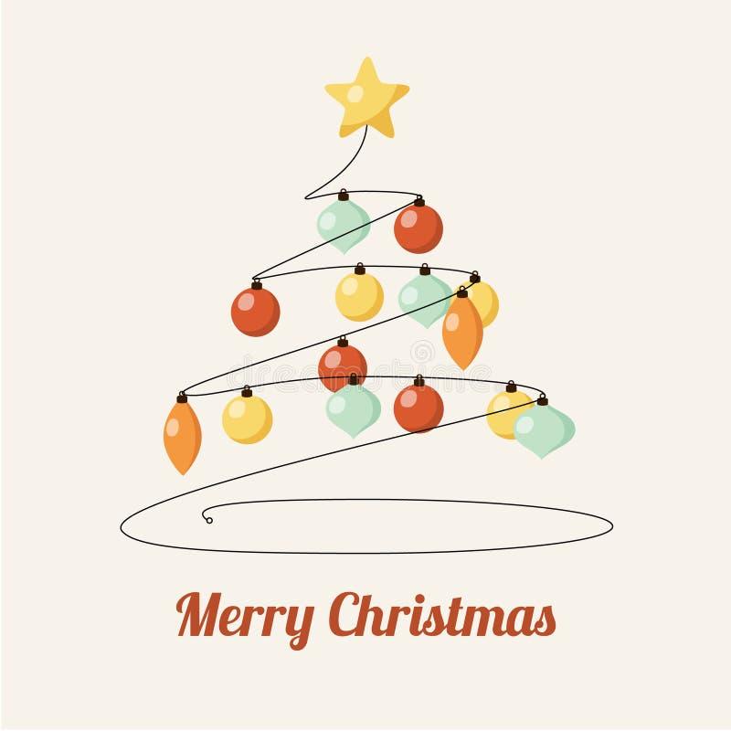Retro- Grußkarte mit verziertem Weihnachtsbaum und Bällen vektor abbildung