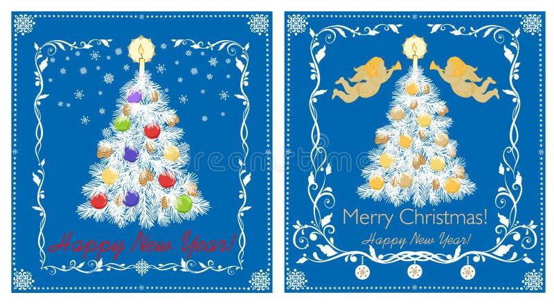 Retro- Grußpapierkarten für Winterurlaub mit Papierschnittweihnachtsweißem Baum, Engel, bunte Bälle, Kerze, Schneeflocken vektor abbildung