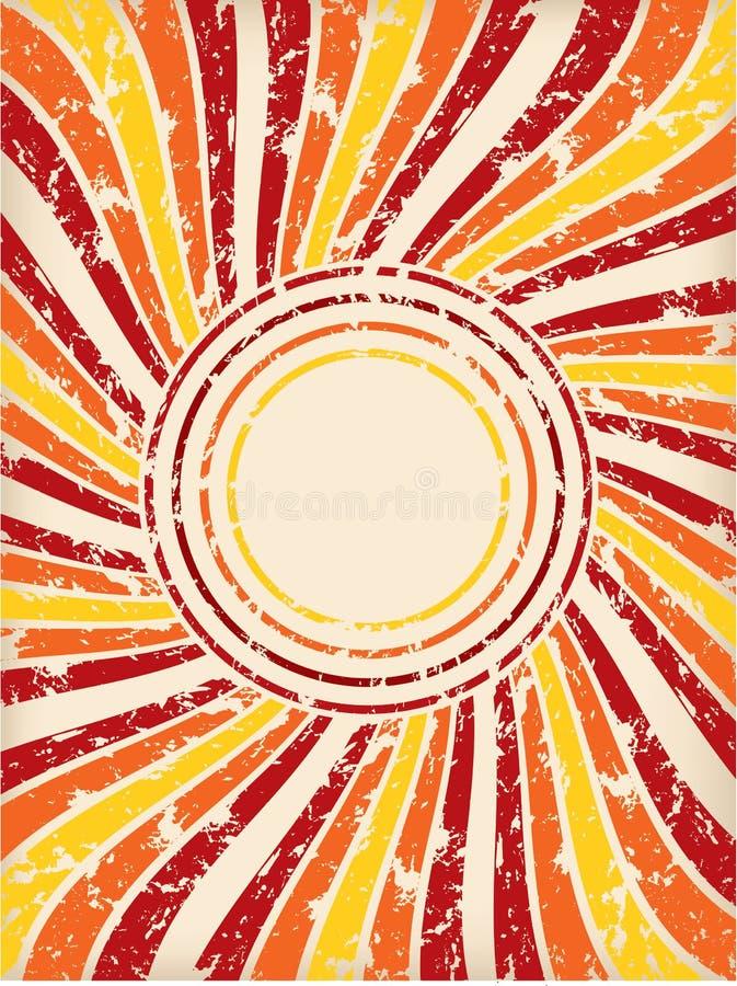 Retro grunge background with color burst stock illustration