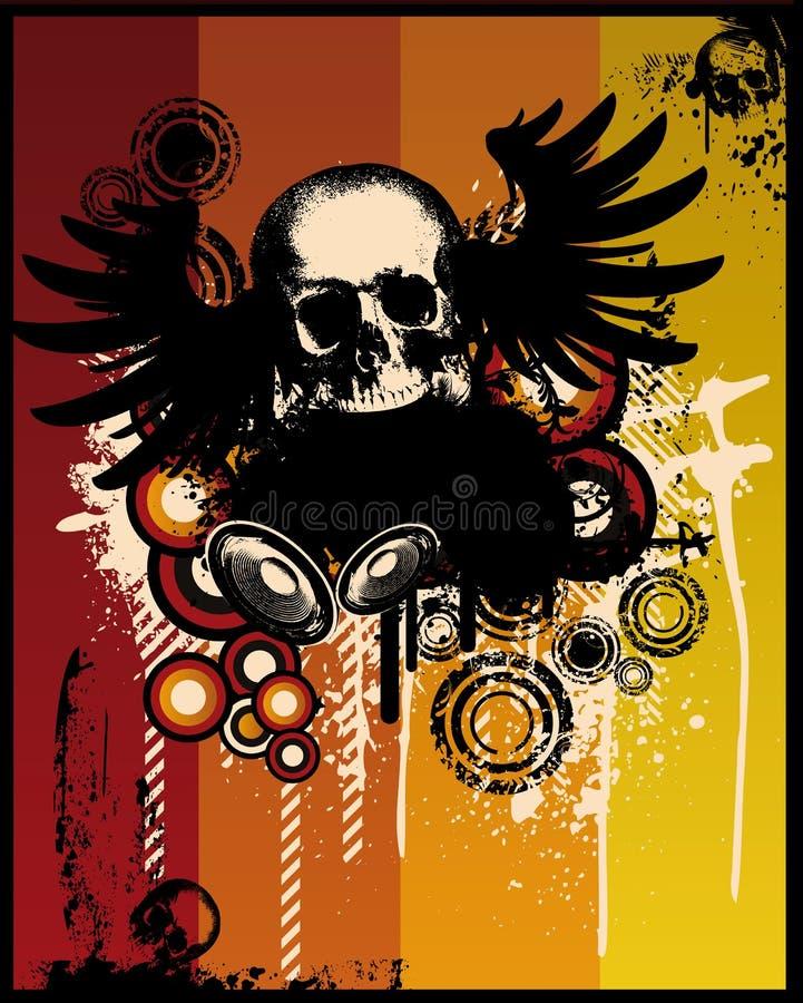 retro grunge czaszka ilustracji