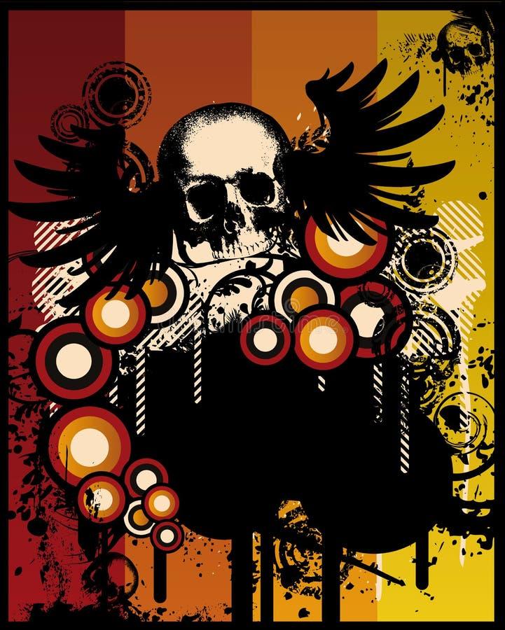 retro grunge czaszka royalty ilustracja