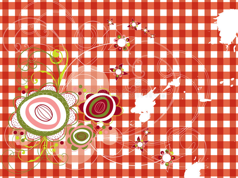 Retro grunge flowers on red check