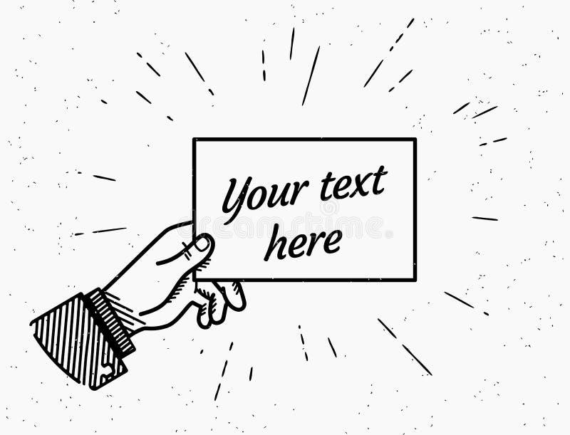 Retro grunge ilustracja ludzka ręka trzyma kartę z próbka tekstem ilustracja wektor