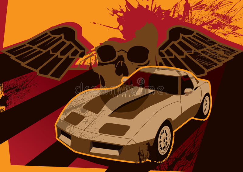 Download Retro Grunge Poster With Car Royalty Free Stock Images - Image: 9635609
