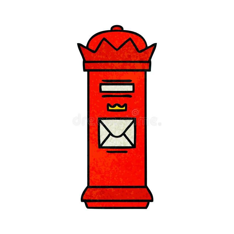 retro grunge texture cartoon british post box stock illustration