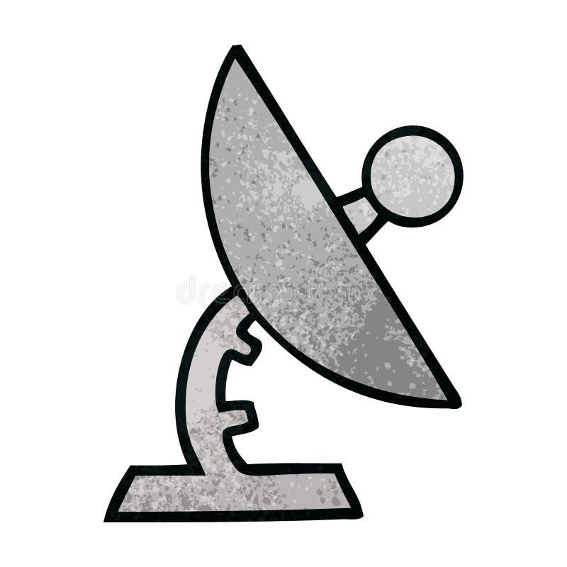 retro grunge texture cartoon of a satelite dish vector illustration