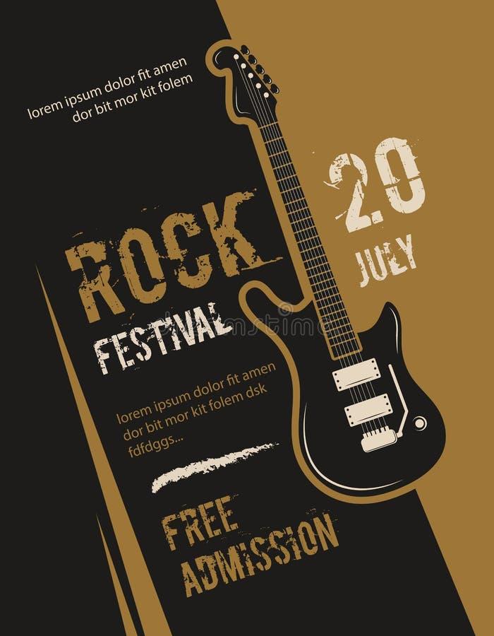 Retro grunge vaggar - och - rulle, heavy metal, design för affisch för vektor för musikfestival vektor illustrationer