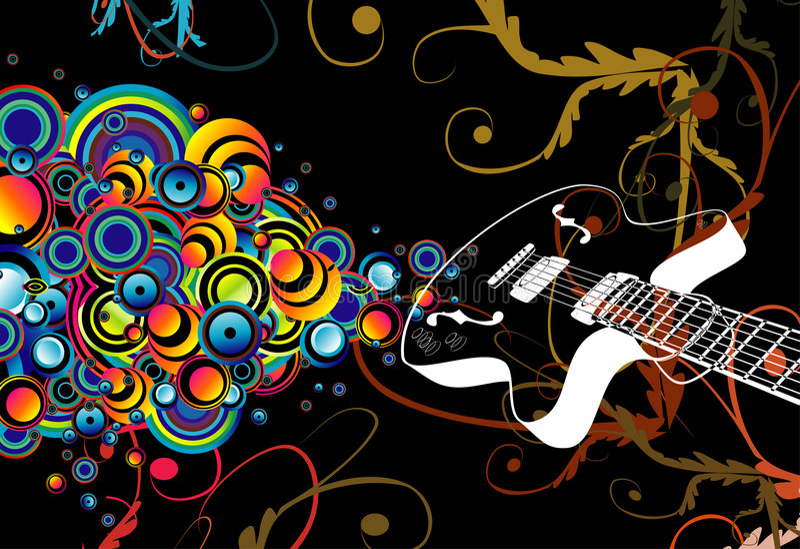 Retro guitar singing bubbles stock image