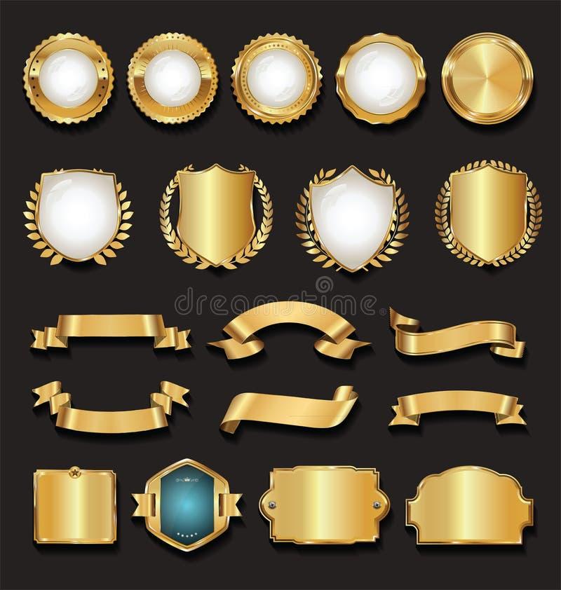 Retro guld- band märker och skyddar samlingen royaltyfri illustrationer