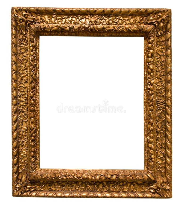 Retro guld- rektangulär ram för fotografi på isolerad backg arkivfoton