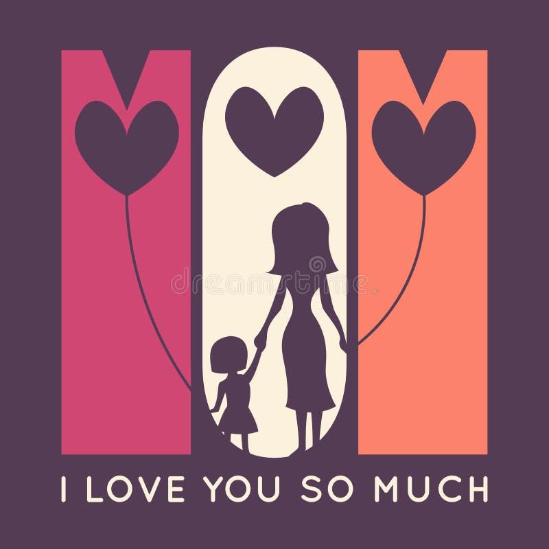 Retro hälsningkort för lycklig mors dag vektor stock illustrationer