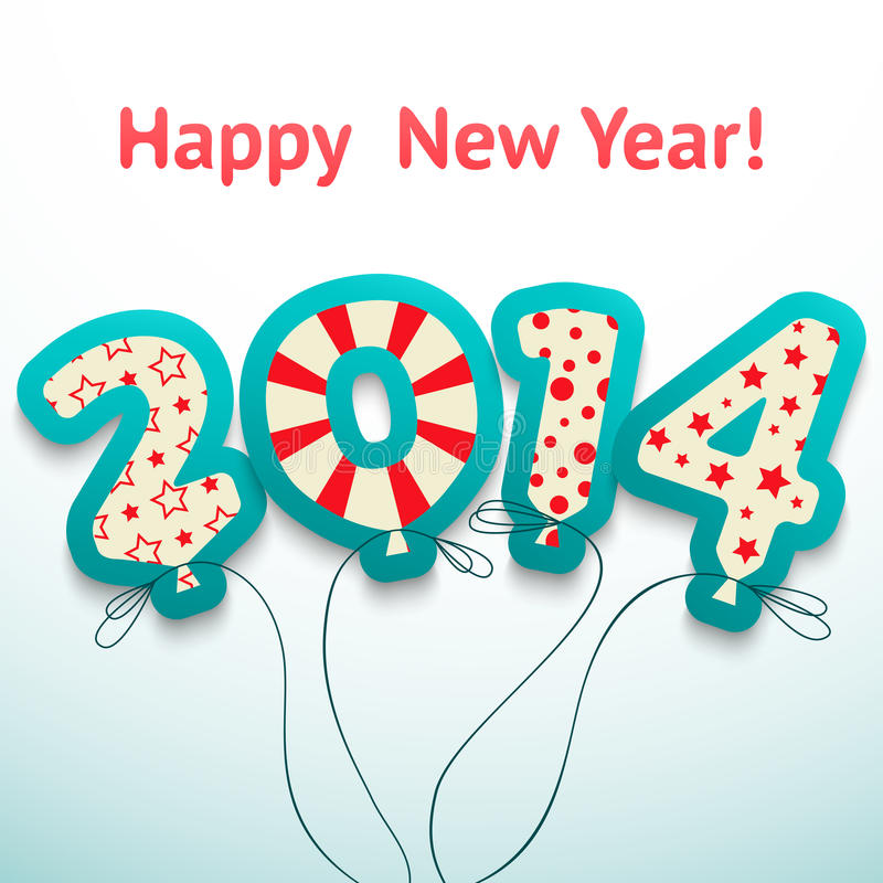 Retro hälsningkort för lyckligt nytt år 2014 med vektor illustrationer