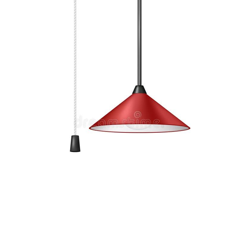 Retro hängande lampa i röd design med den svartvita kabelströmbrytaren vektor illustrationer