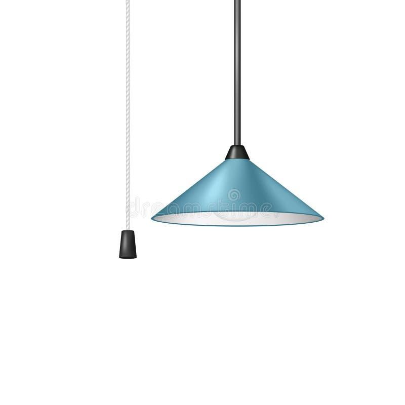 Retro- Hängeleuchte im blauen Design mit Schwarzweiss-Schnurschalter lizenzfreie abbildung
