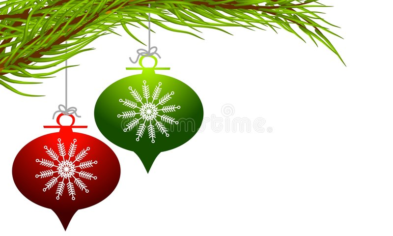 Retro- hängende Weihnachtsverzierungen stock abbildung