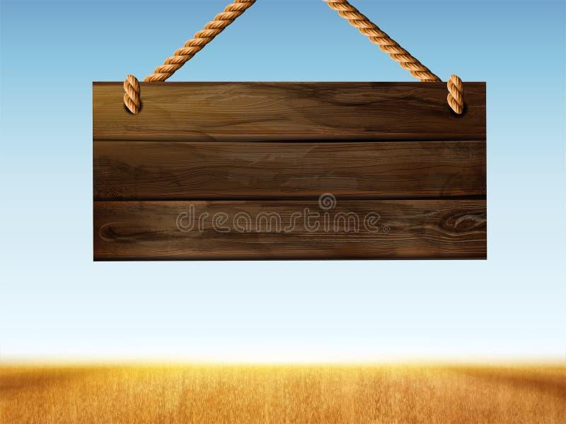 Retro- hängendes hölzernes Zeichen stock abbildung