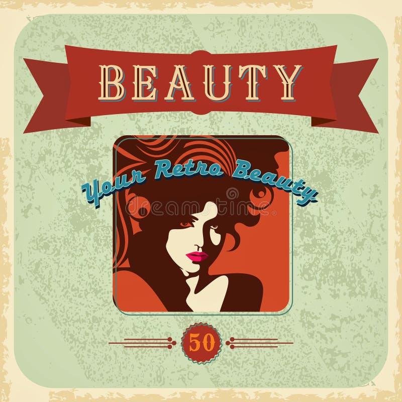 Retro härlig kvinnakontur för tappning royaltyfri illustrationer