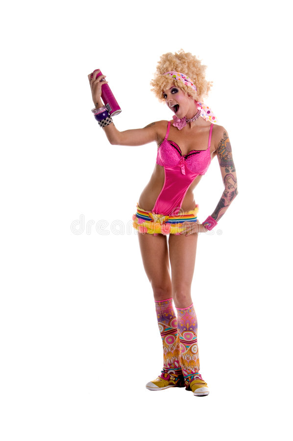 Retro Hair spray. Cute and retro go go dancer with a big blond afro hairstyle dancing and jumping in the air holding a big pink can of hair spray royalty free stock image