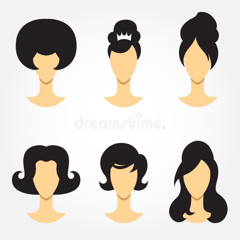 Retro haircut set. A set of retro woman haircut silhouettes stock illustration