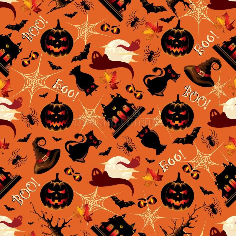 Retro Halloween-Naadloos Patroon Als achtergrond royalty-vrije illustratie