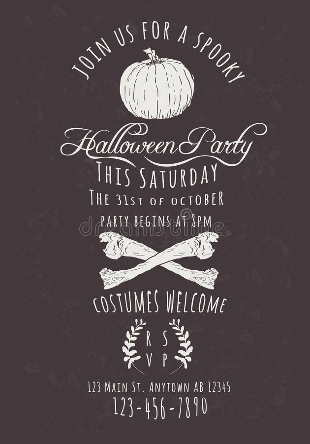 Retro Halloween Party Invitation. Vector Halloween Party Invitation with pumpkin and bones royalty free illustration