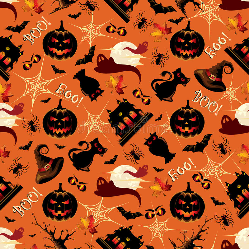 Retro Halloweenowego tła Bezszwowy wzór royalty ilustracja