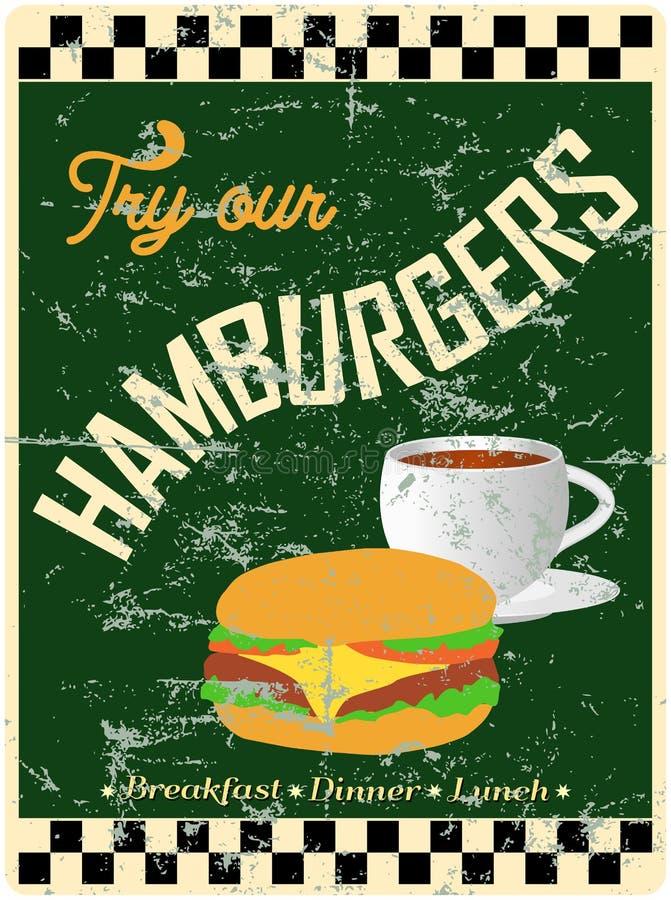 Retro hamburgare-/matställetecken vektor illustrationer