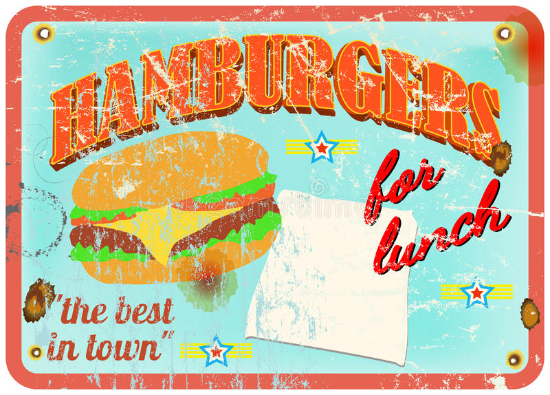 Retro hamburgaretecken royaltyfri illustrationer