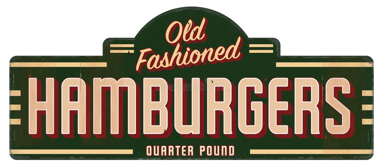 Retro Hamburger Sign Old Fashioned Quarter Pounder. Hamburger Sign Retro Vintage Old Fashioned Quarter Pounder 40s 50s 60s Diner Restaurant Grill stock photos
