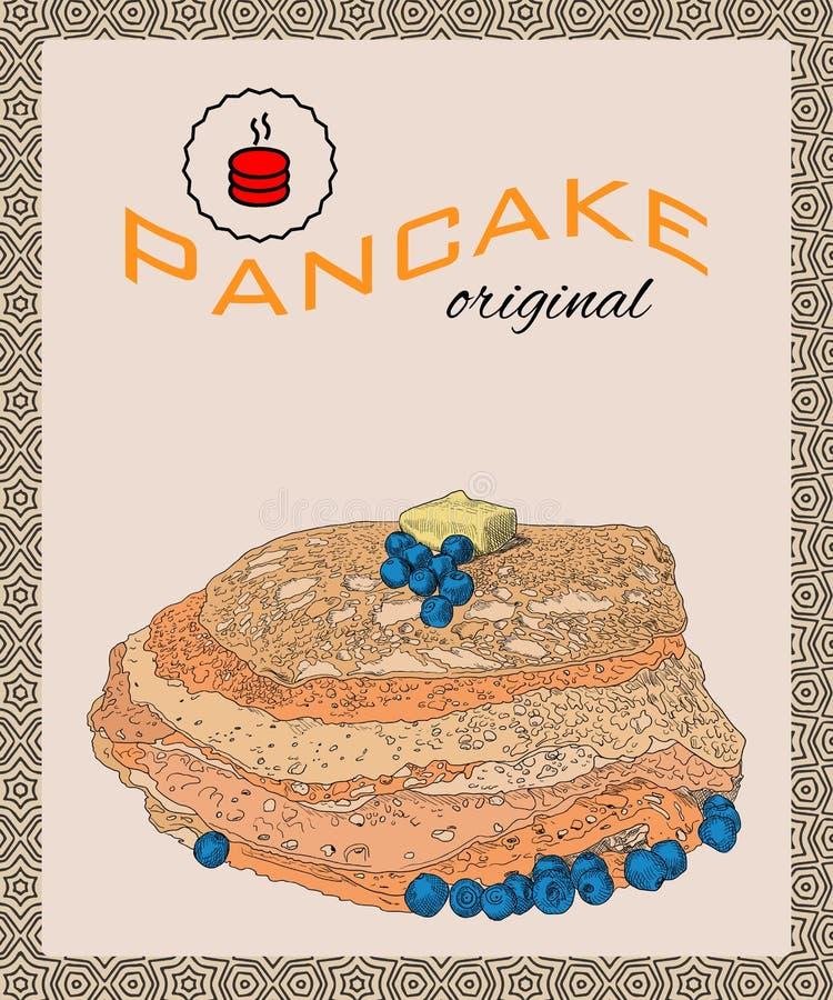 Retro hand dragen affisch med pannkakor, blåbäret och smör stock illustrationer