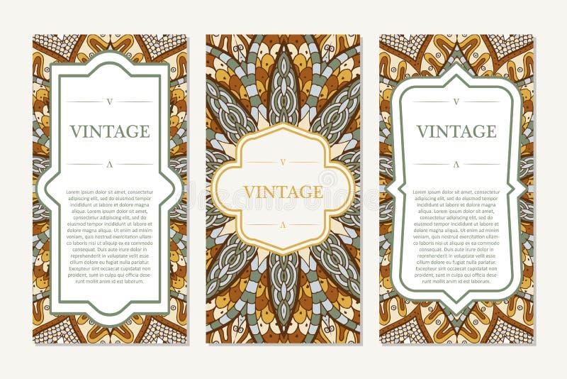 Retro hand-dragit kort med mandalaen tappning för bakgrundsställetext Användas för inbjudan, banret, andra kan kort vektor illustrationer
