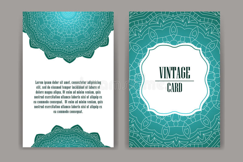 Retro hand-dragit kort med mandalaen tappning för bakgrundsställetext Kan användas för inbjudan, banret, andra vektor illustrationer