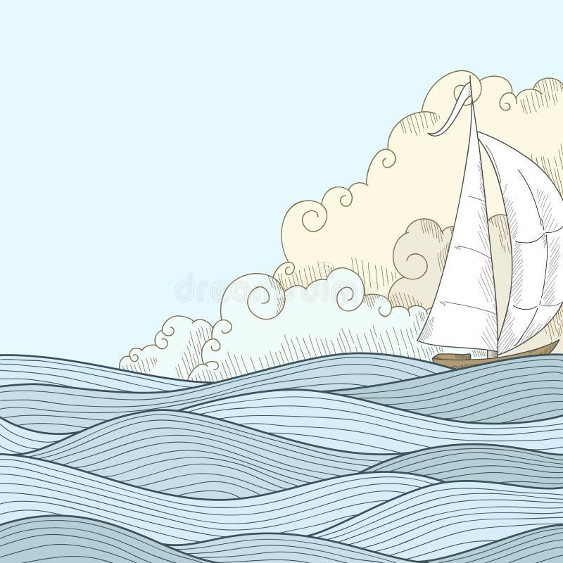 Retro hand draw styled sea sailor boat vector illustration