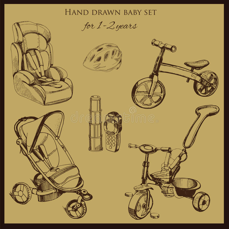 Retro hand drawn baby set for 1-2 years old. Vector illustration of retro hand drawn baby set for 1-2 years old. Includes pram, auto seat, balance bike, tricycle royalty free illustration