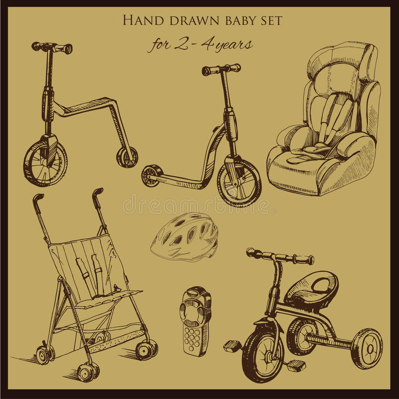 Retro hand drawn baby set for 2-4 years old. Vector illustration of retro hand drawn baby set for 2-4 years old. Includes pram, auto seat, balance bike, tricycle stock illustration